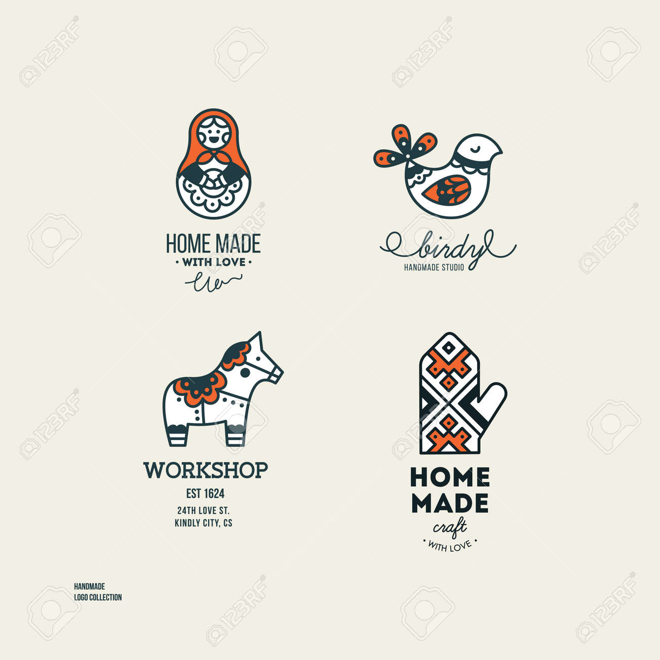 Handmade Art And Craft Logotypes Collection Simple Logo Set