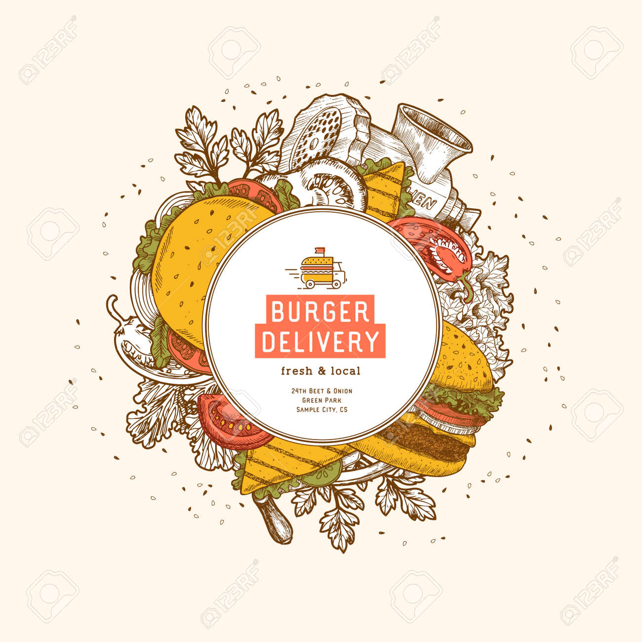 hipster burger round design template snack collection menu