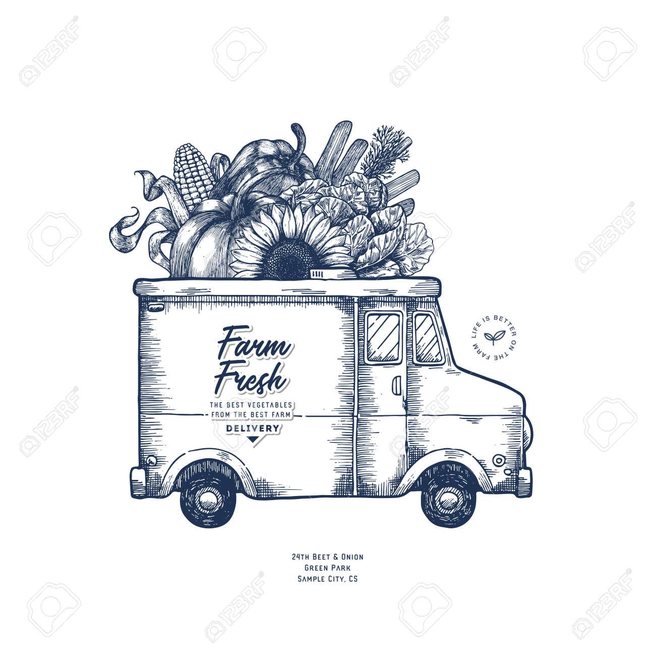 Farm Fresh Delivery Design Template Classic Food Truck With - Food truck design template