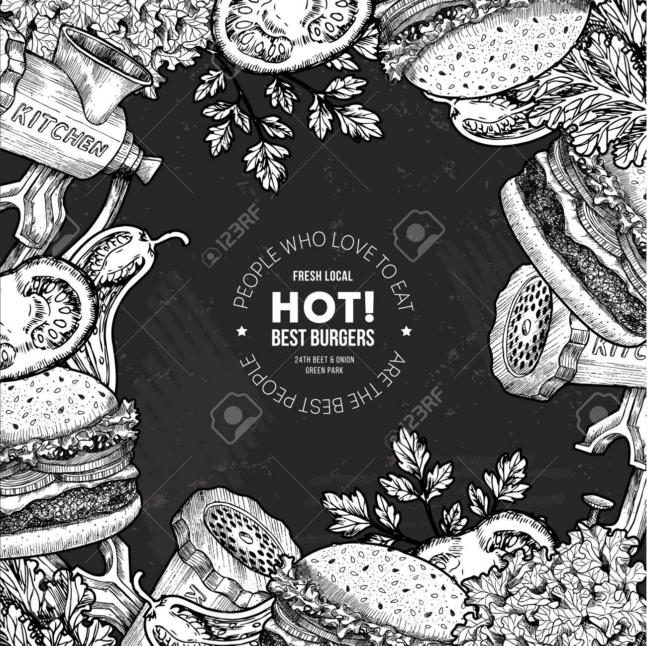 Fast Food Chalkboard Design Template Linear Graphic Snack Collection Junk Engraved