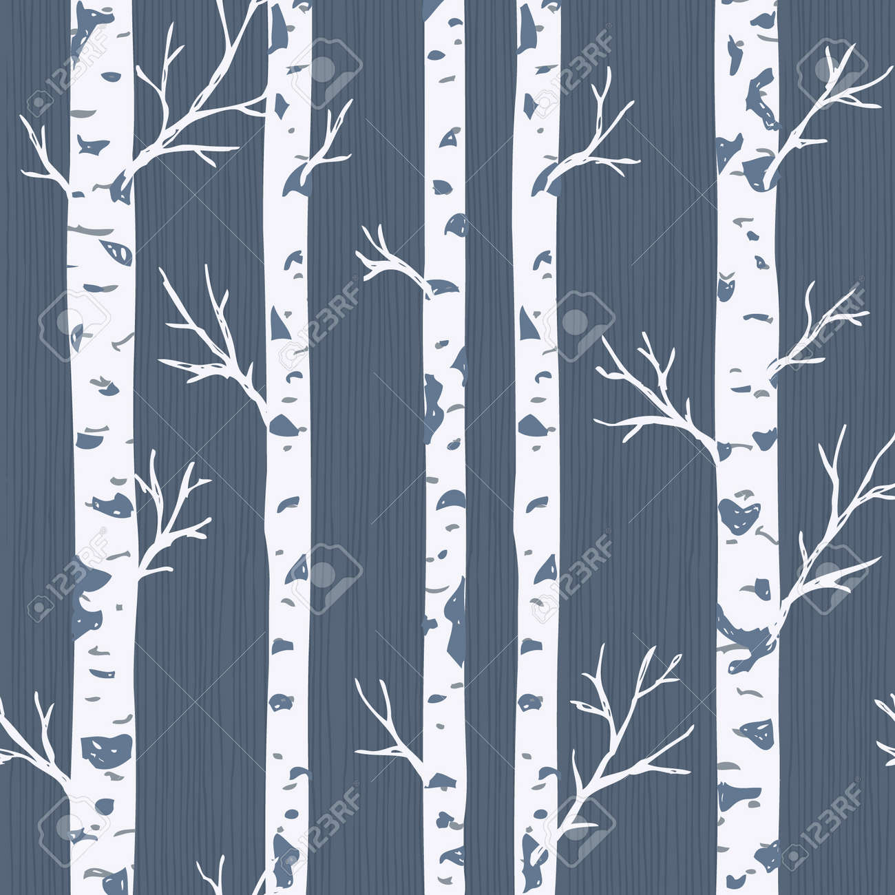Birch trees seamless pattern. Spring forest background. Vector illustration - 106382730