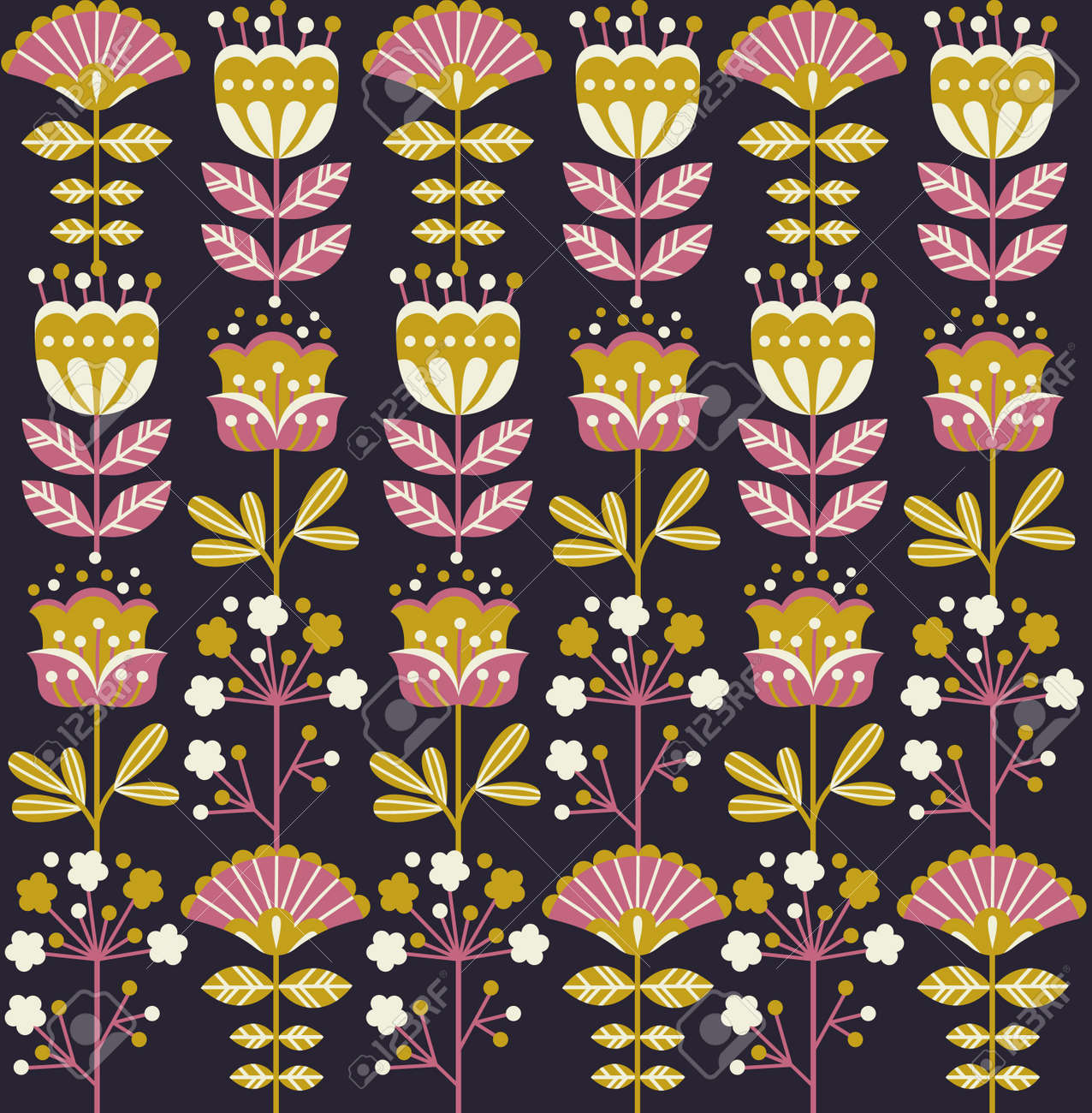 Retro Flower Seamless Flower Vintage Floral Background Vector