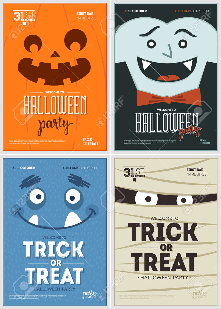 Halloween party fun posters collection. Halloween design template. Vector illustration - 108043965