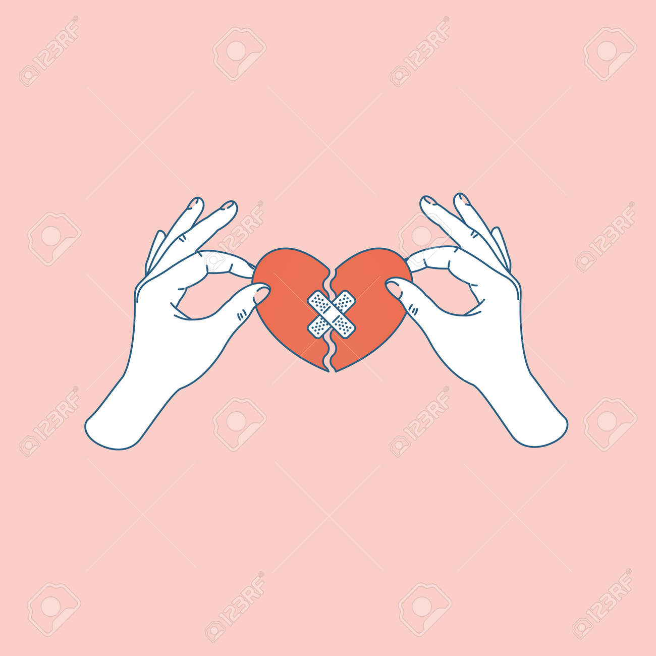 Woman hand holding repaired broken heart. Fixed broken heart. Vector illustration - 108640830