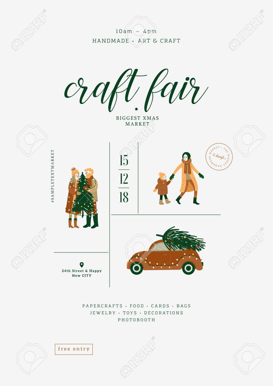 Christmas Fair Poster Minimalist Design Template Art And Craft