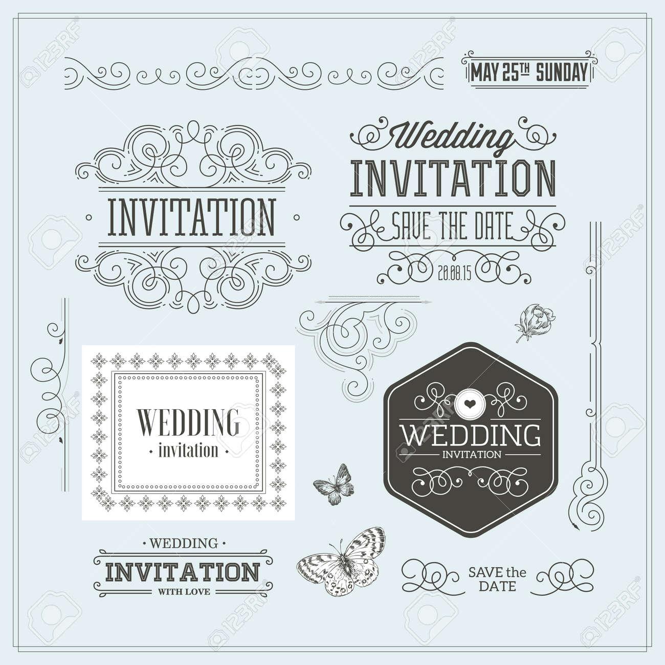 Vintage Wedding invitation design kit. Elements, ornaments, badges. - 122403714