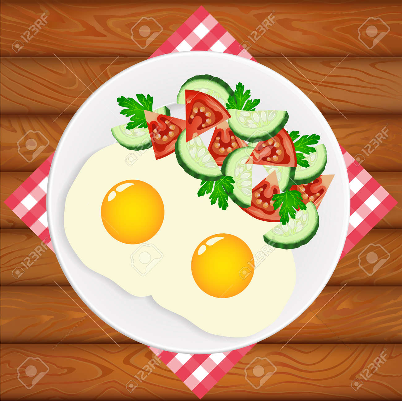 Freshly Cooked Two Eggs With Salad On White Plate Placed On The Royalty Free Cliparts Vectors And Stock Illustration Image 92714123