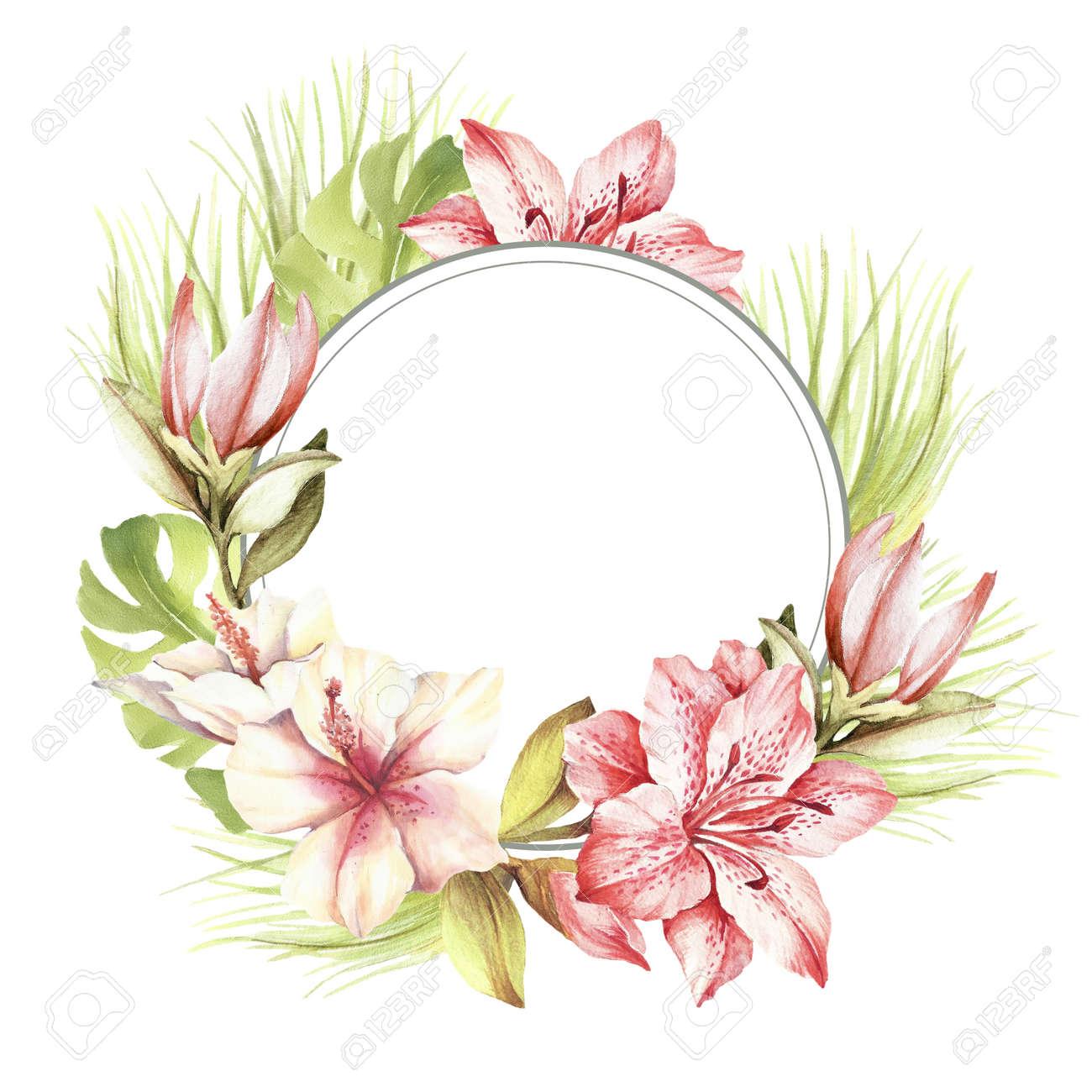 Marco Con Flores Tropicales Y Hojas Mano Dibujar La Ilustracion