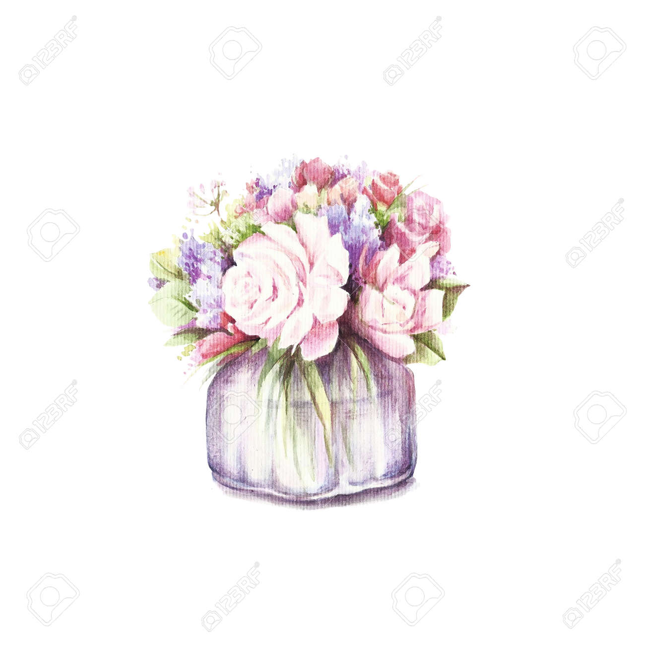 Vase With Bouquet Of Flowers. Hand Draw Watercolor Illustration ...
