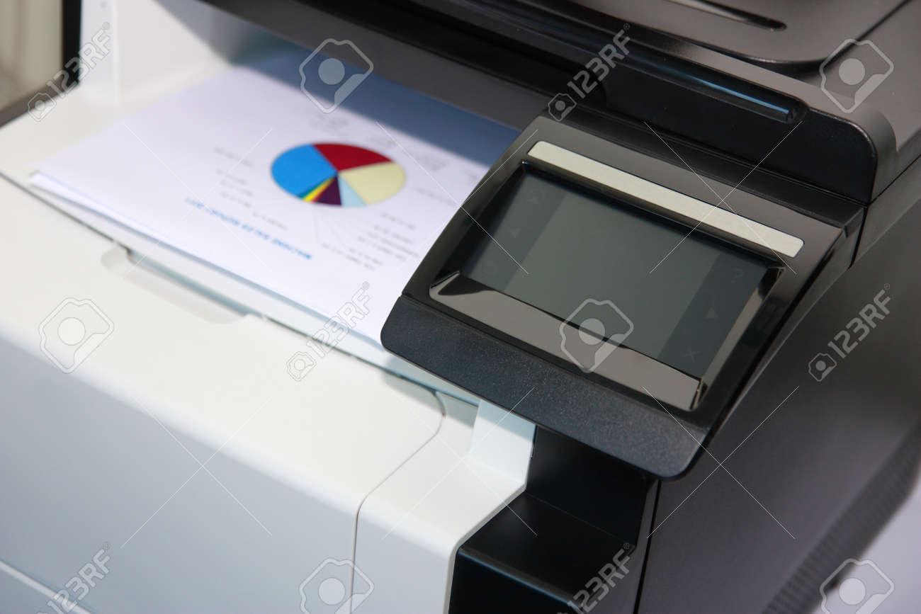 Touchscreen control panel of modern multifunction printer Stock Photo - 14566468