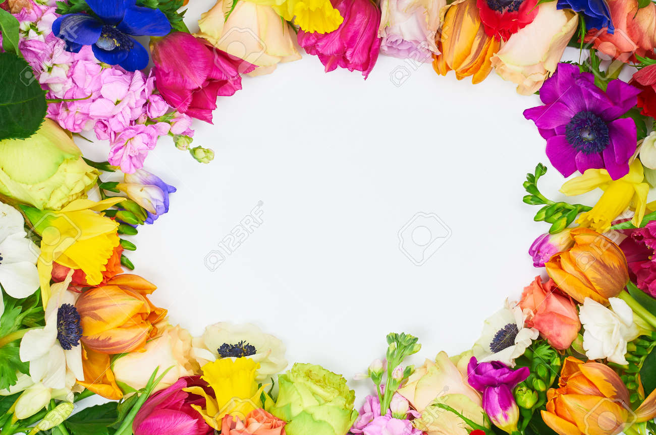 Flowers Frame In White Background Isolated Frame Different