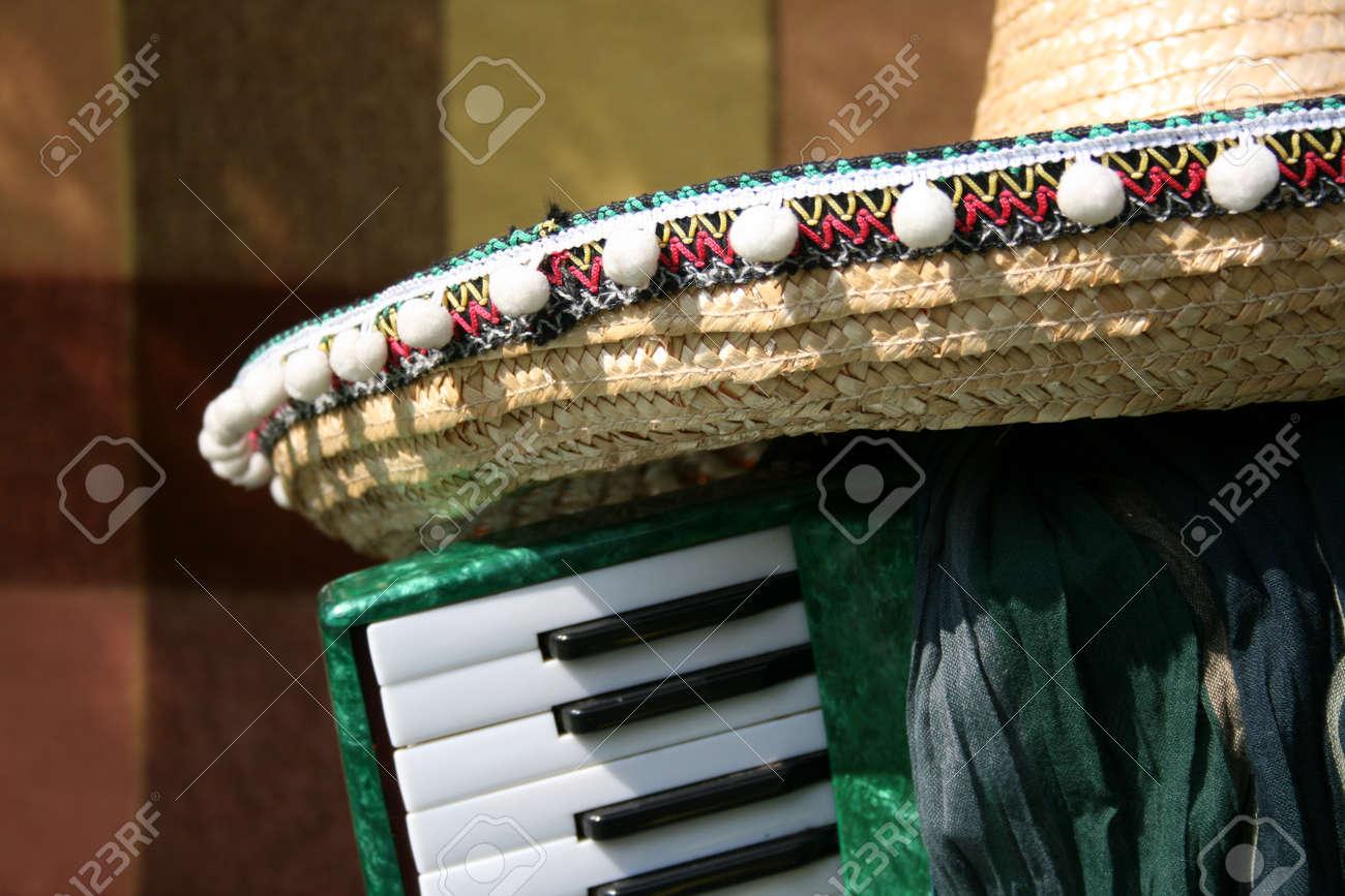 Acordeón Viejo En Un Jardín De La Primavera Y El Sombrero Mexicano