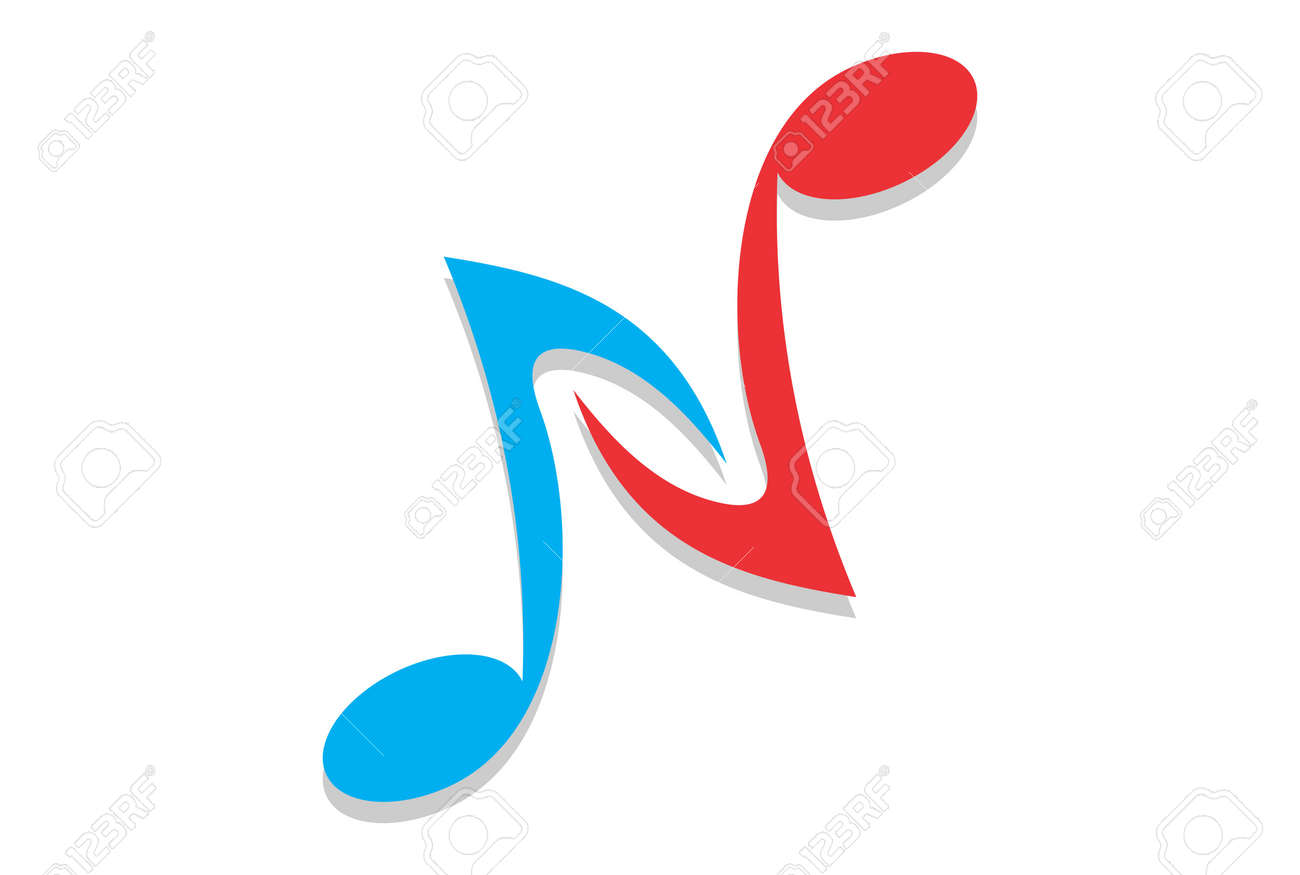 letter n abstract music note sing icon royalty free cliparts