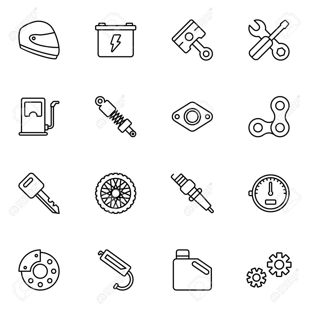 Motorcycle Parts Vector Icons Details And Attributes For Riding