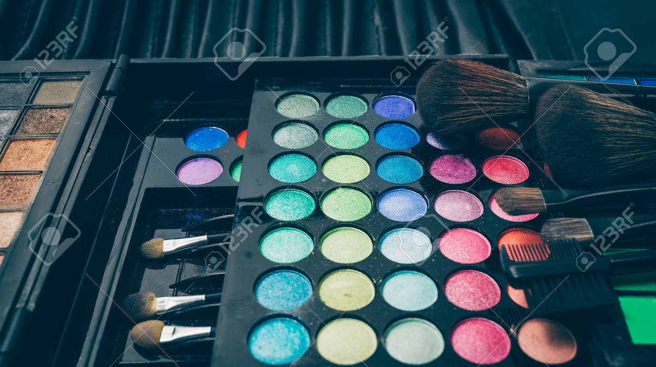Makeup palette with blush backgrounds Stock Photo - 50506909