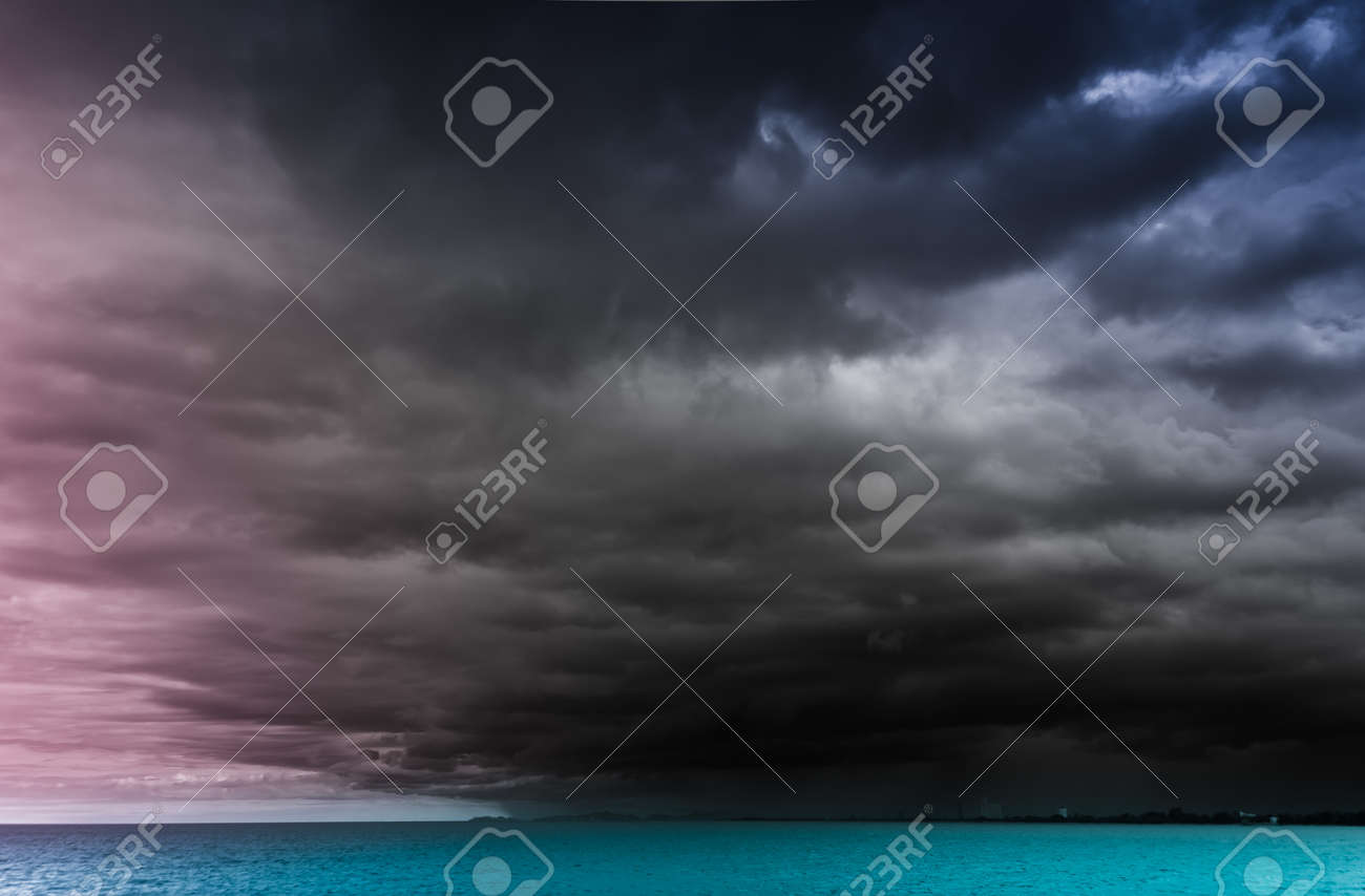 Rainstorm,at cha-am beach thailand Stock Photo - 15978109