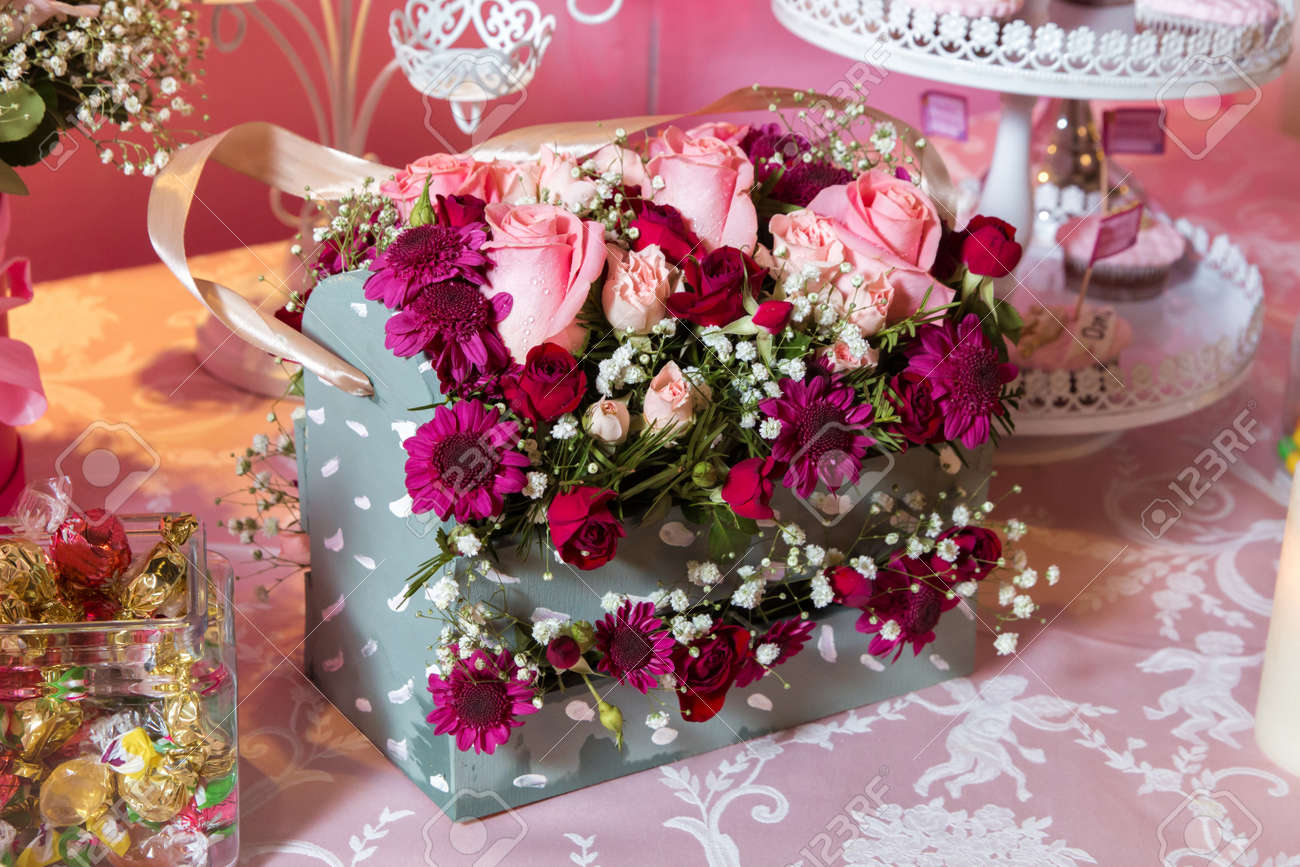 Four-cornered Birthday Flower Bouquet Gift Box With Colorful.. Stock ...