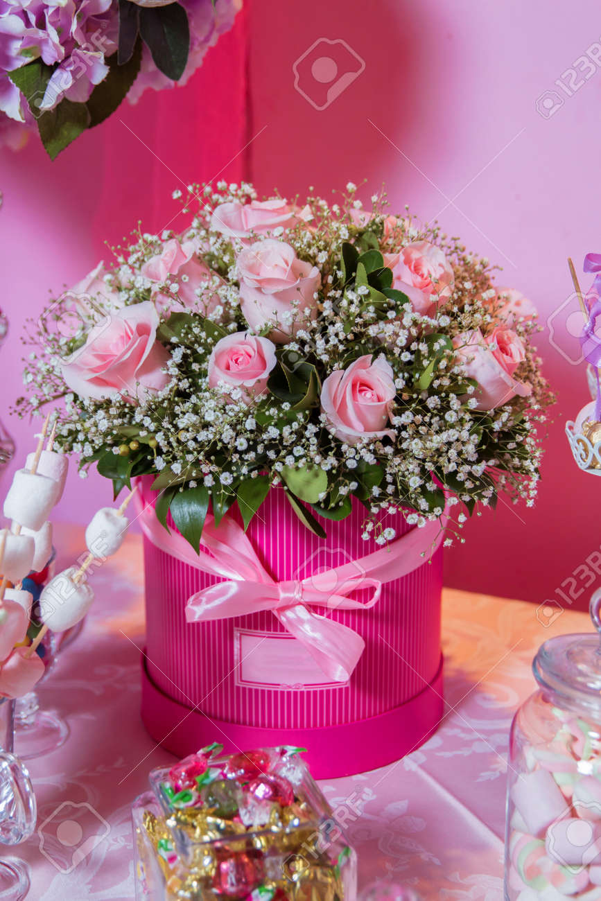 Rounded Pink Flower Bouquet Bouquet Of Delicate Pink Flowers