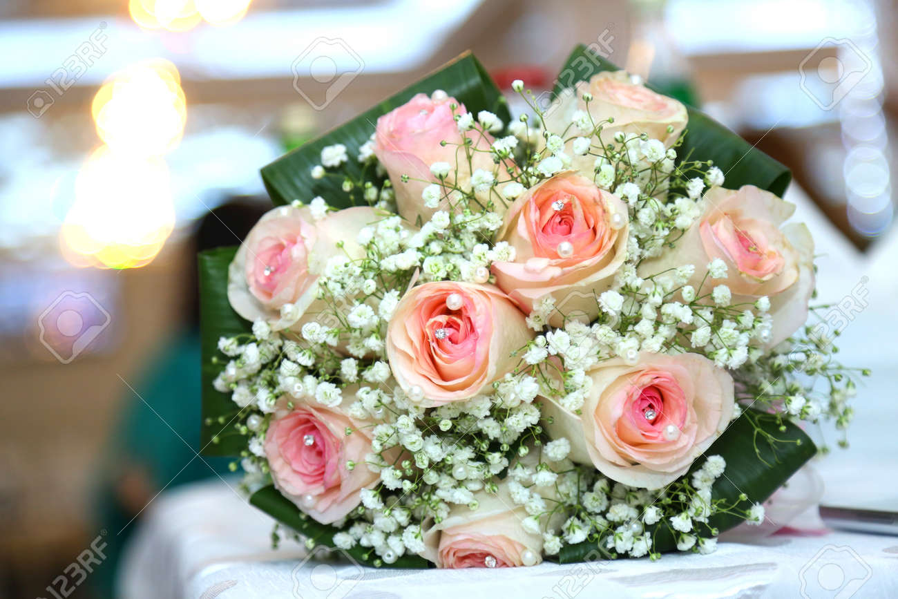 Wedding Details White Wedding And Engagement Flower Bouquet... Stock ...