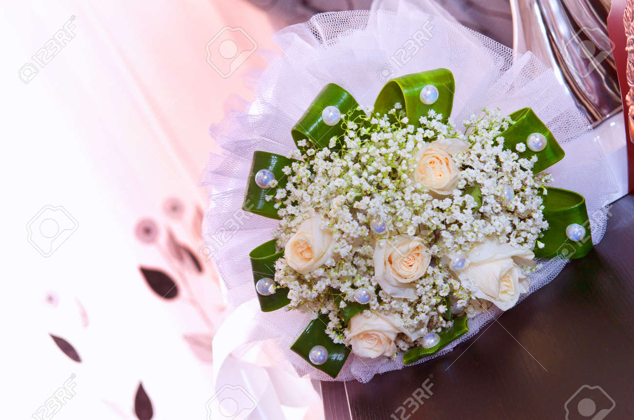 Wedding details white wedding and engagement flower bouquet stock stock photo wedding details white wedding and engagement flower bouquet beautiful wedding bouquet with different flowers roses izmirmasajfo