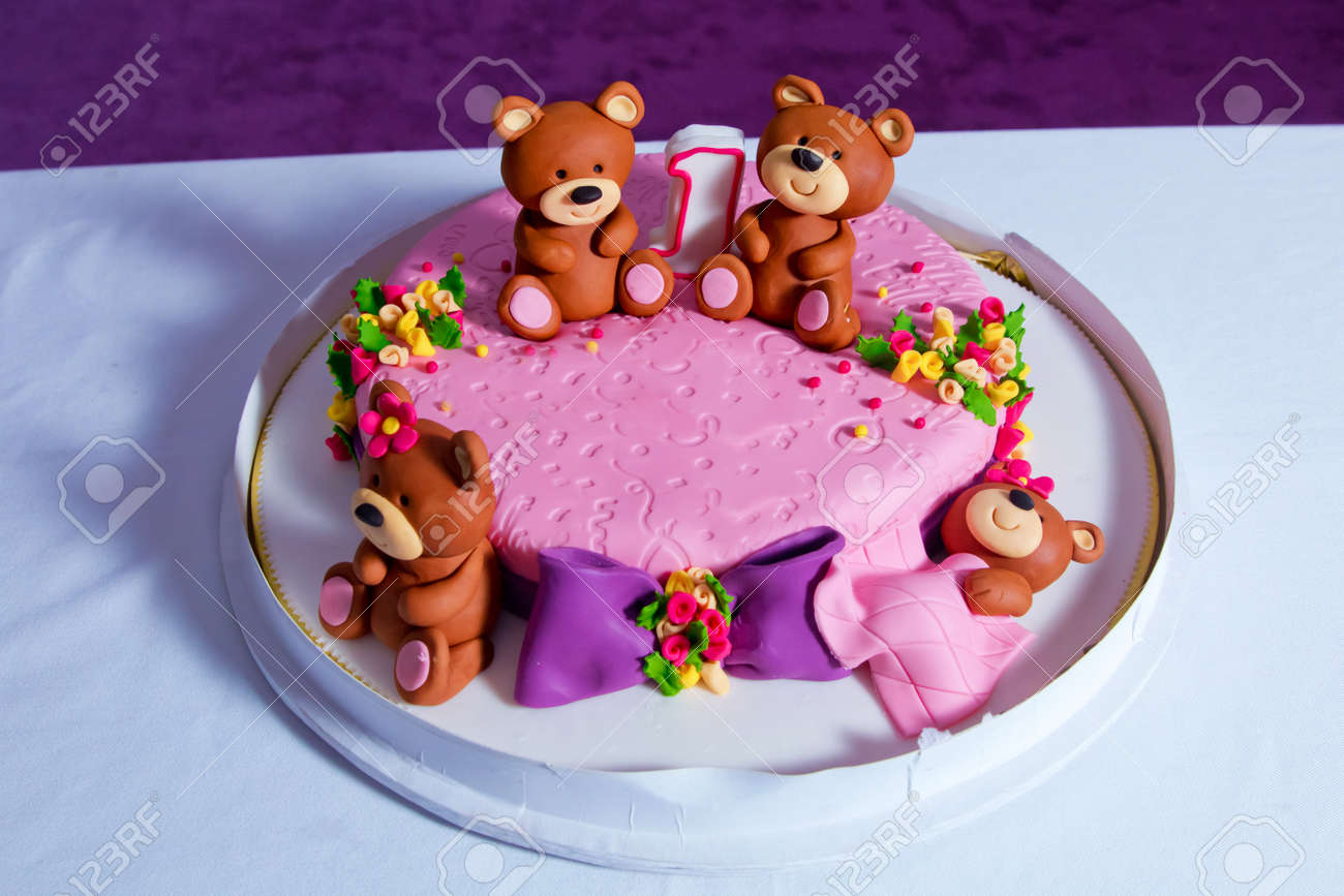 1 Year Old Birthday Cake Big Beautiful Kids Decorated With Turquoise Teddy Bear