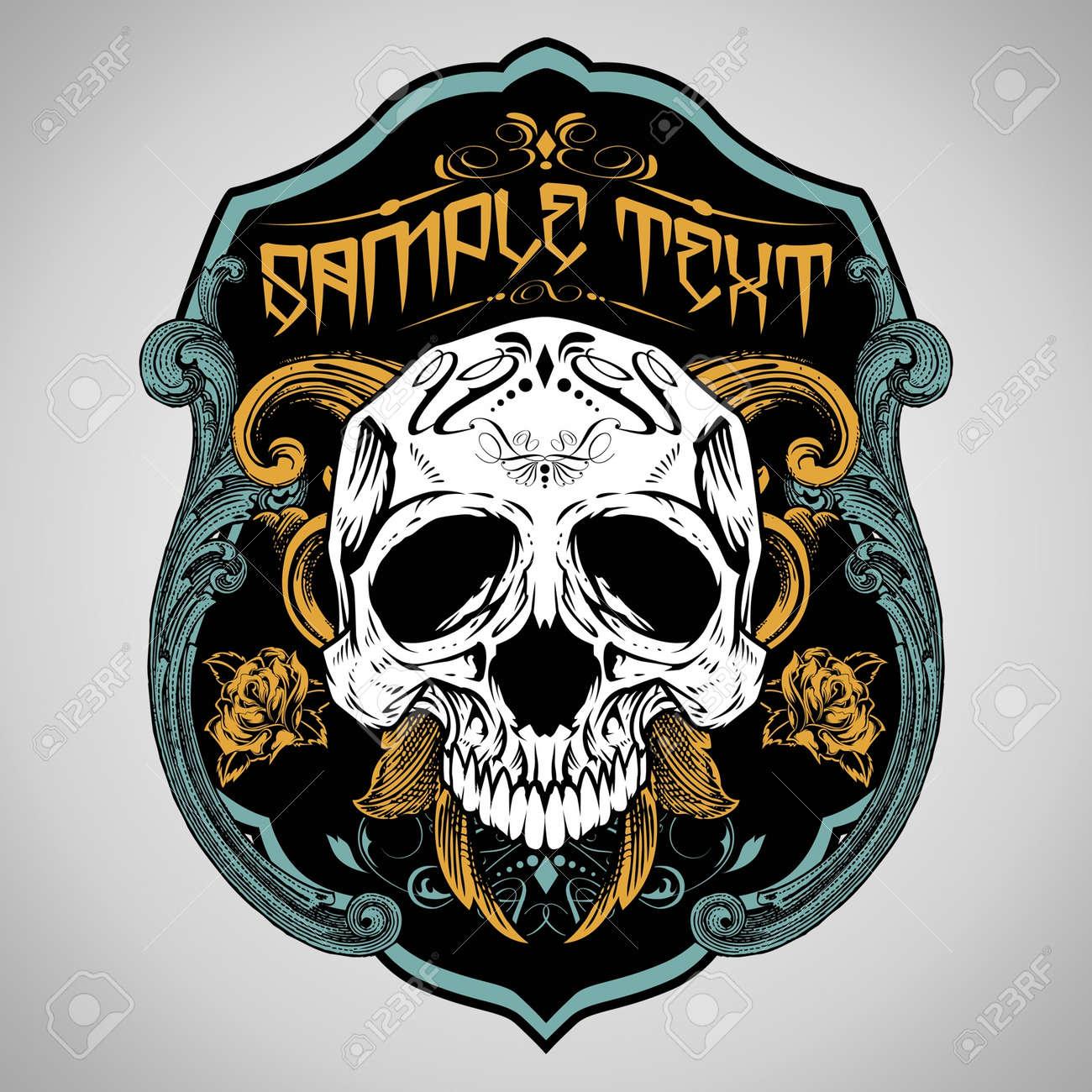 T shirt design vector - Vector Illustration Skull T Shirt Design Logos Stock Vector 18675753