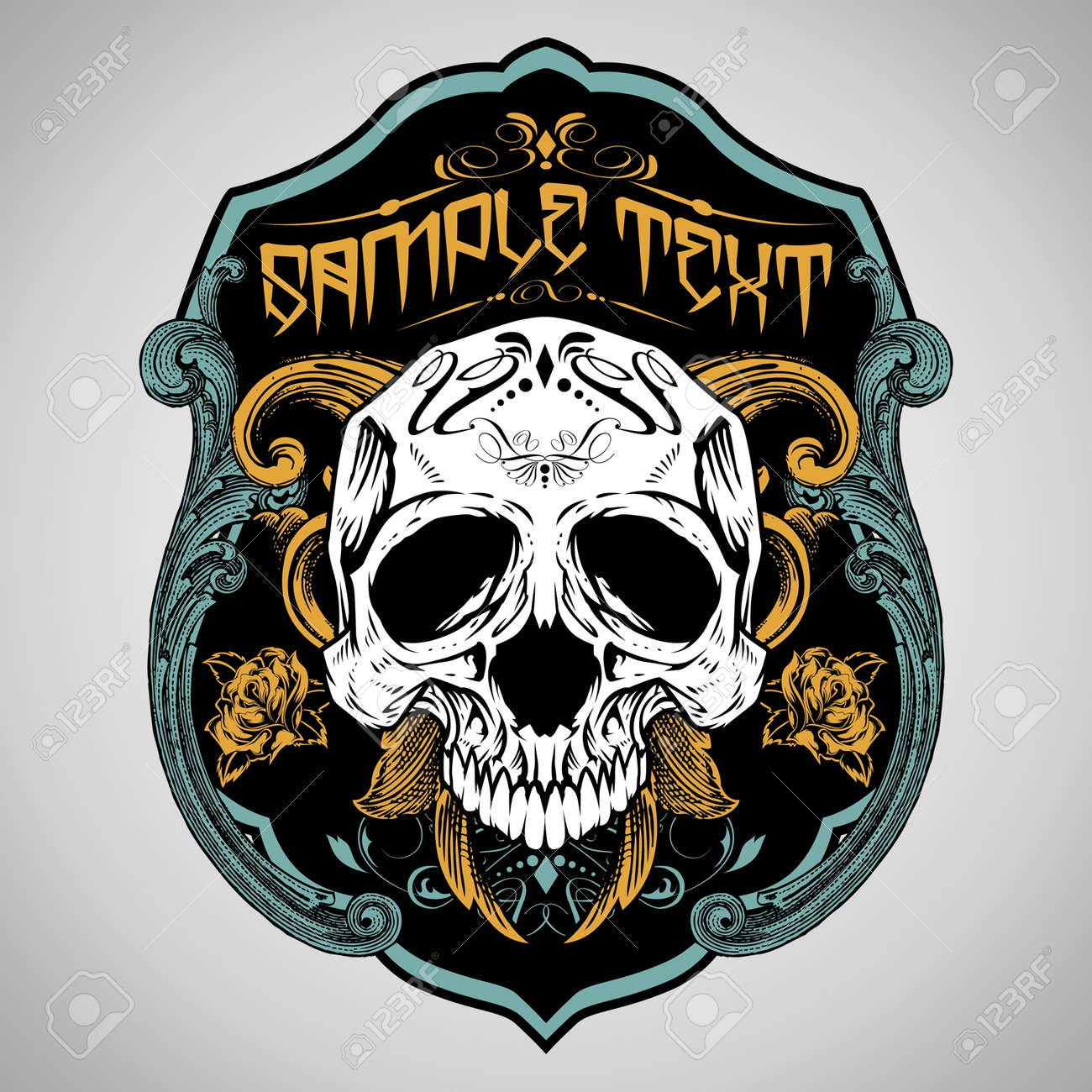 Vector Illustration Skull T Shirt Design Logos Royalty Free