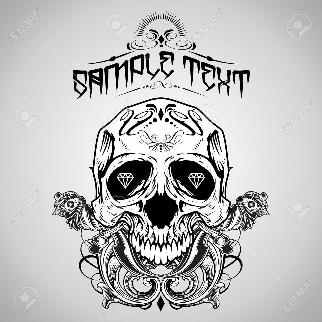 Design t shirt skull - Vector Illustration Skull T Shirt Design Logos Stock Vector 18675781