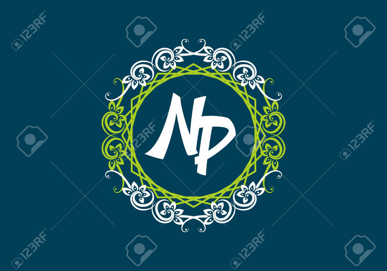 NP initial letter in vintage circle frame design - 169704638