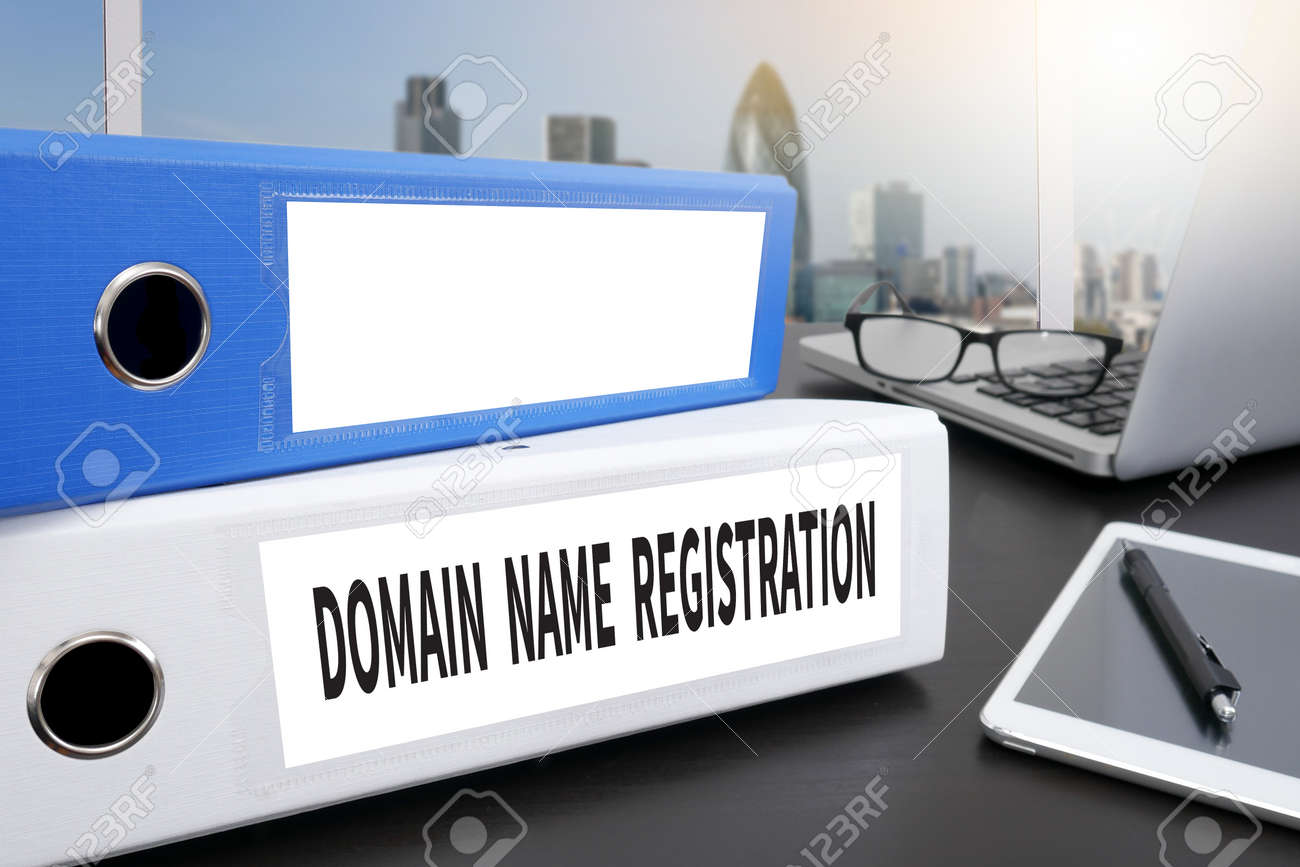 domain office furniture. DOMAIN NAME REGISTRATION Office Folder On Desktop Table With  Supplies. Stock Photo - Domain Office Furniture