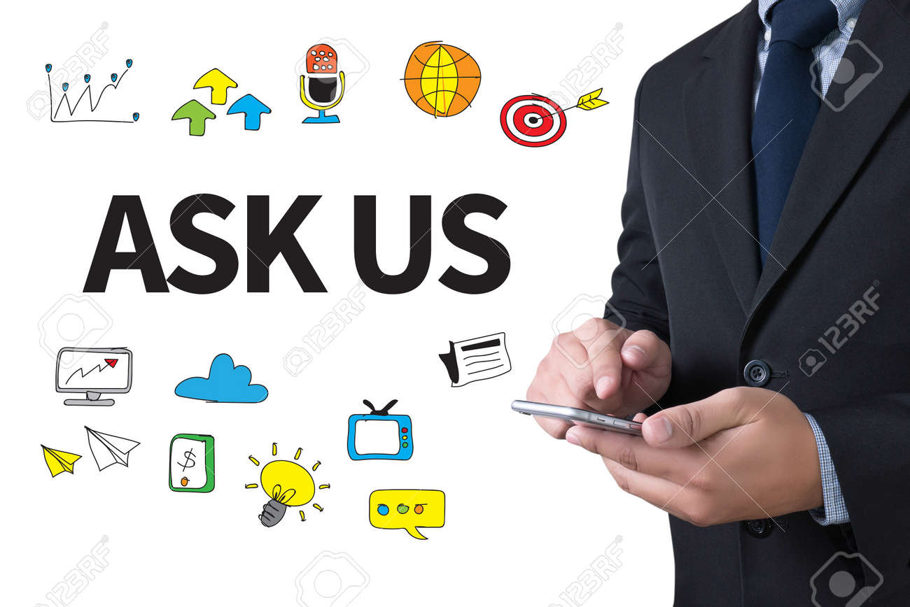 ASK US concept businessman working use smartphone