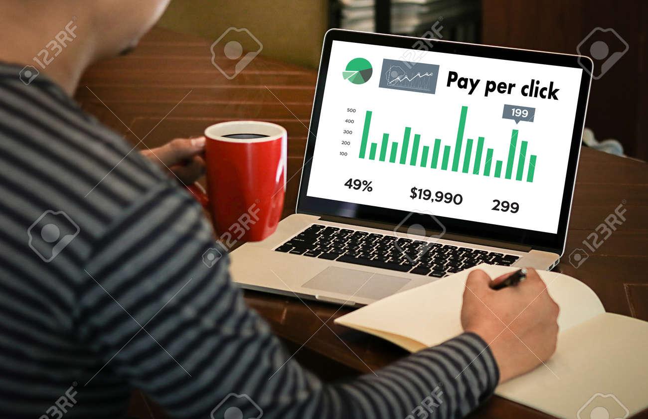 PPC - Pay Per Click concept Businessman working concept - 75491263