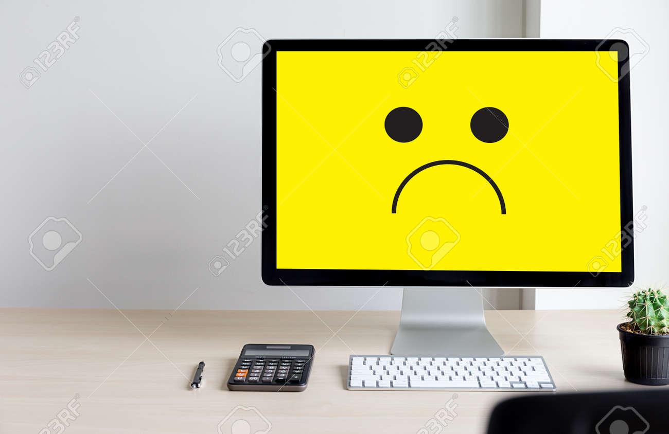 Depressive Emotions Concept Smiley Face Emoticon Printed Depression