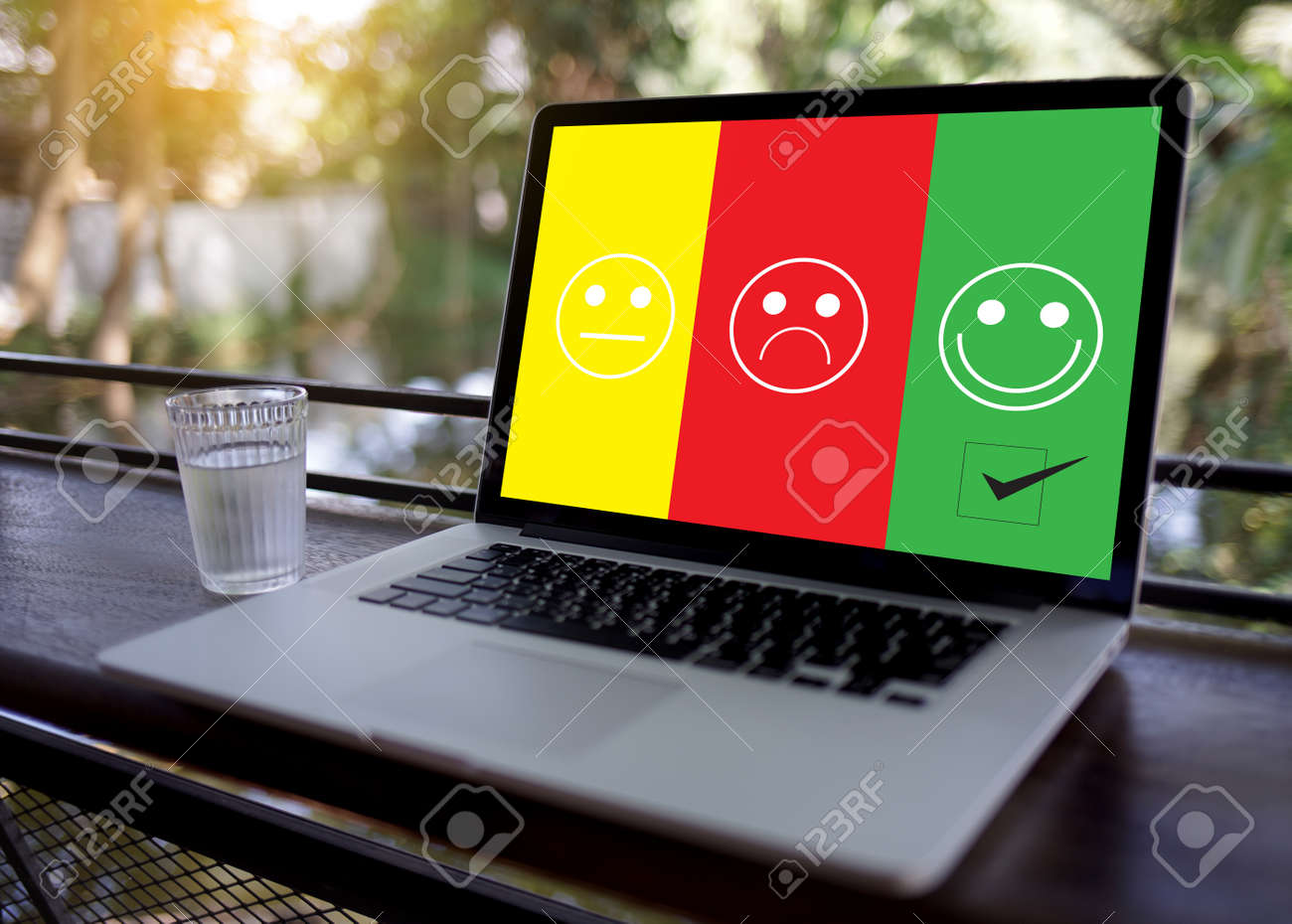 business man and woman select happy on satisfaction evaluation? And good mood smiley and evaluate - 101296053
