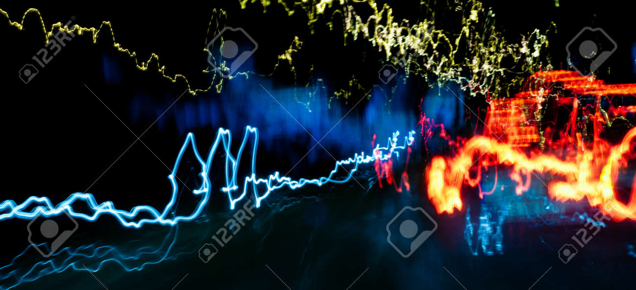 light trails in the city street at night background. Traffic lights. Long exposure photo. Stock Photo - 18544193
