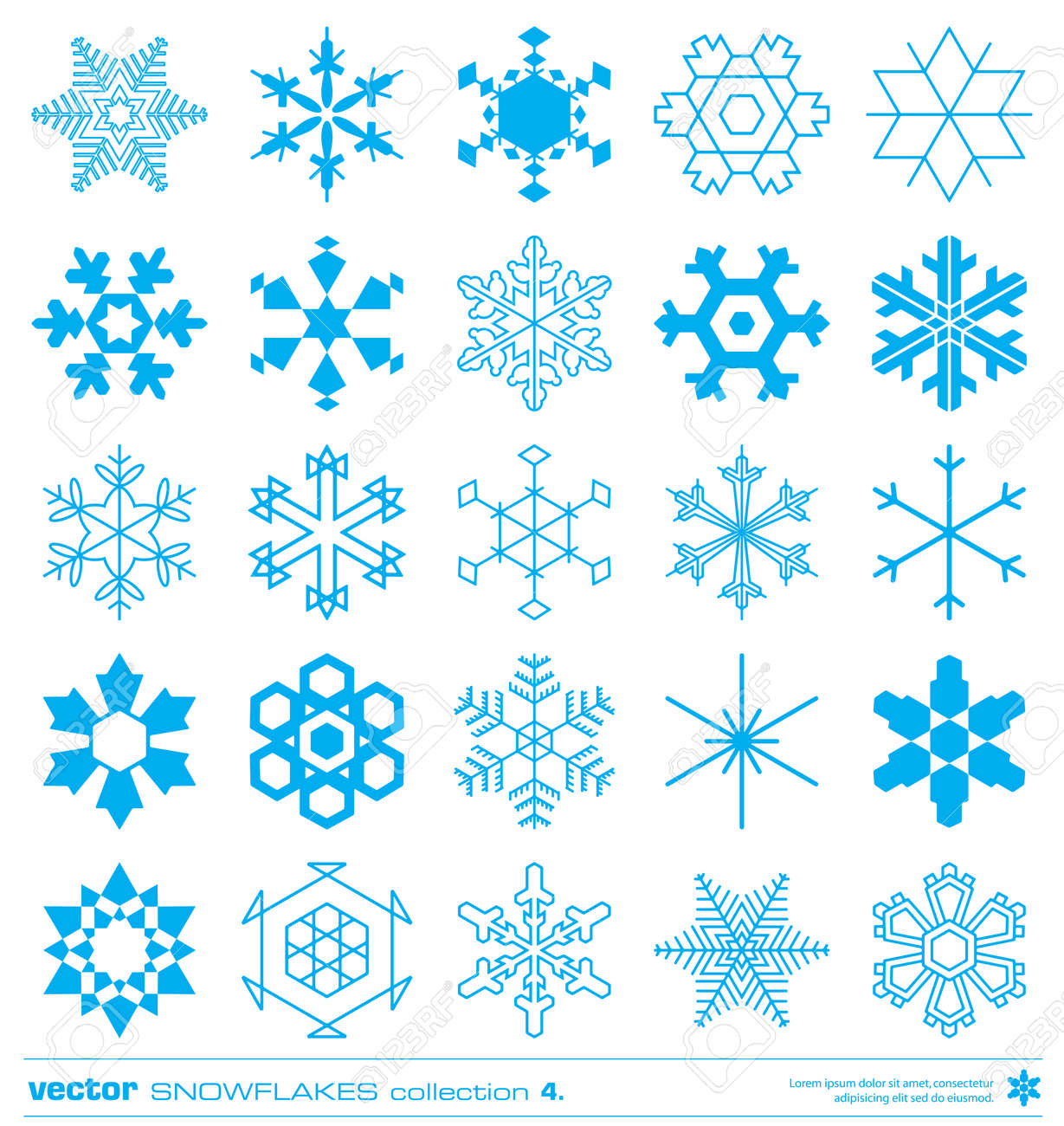 snowflakes silhouette design vector set concept christmas snowflakes icon collection stock vector 23859212