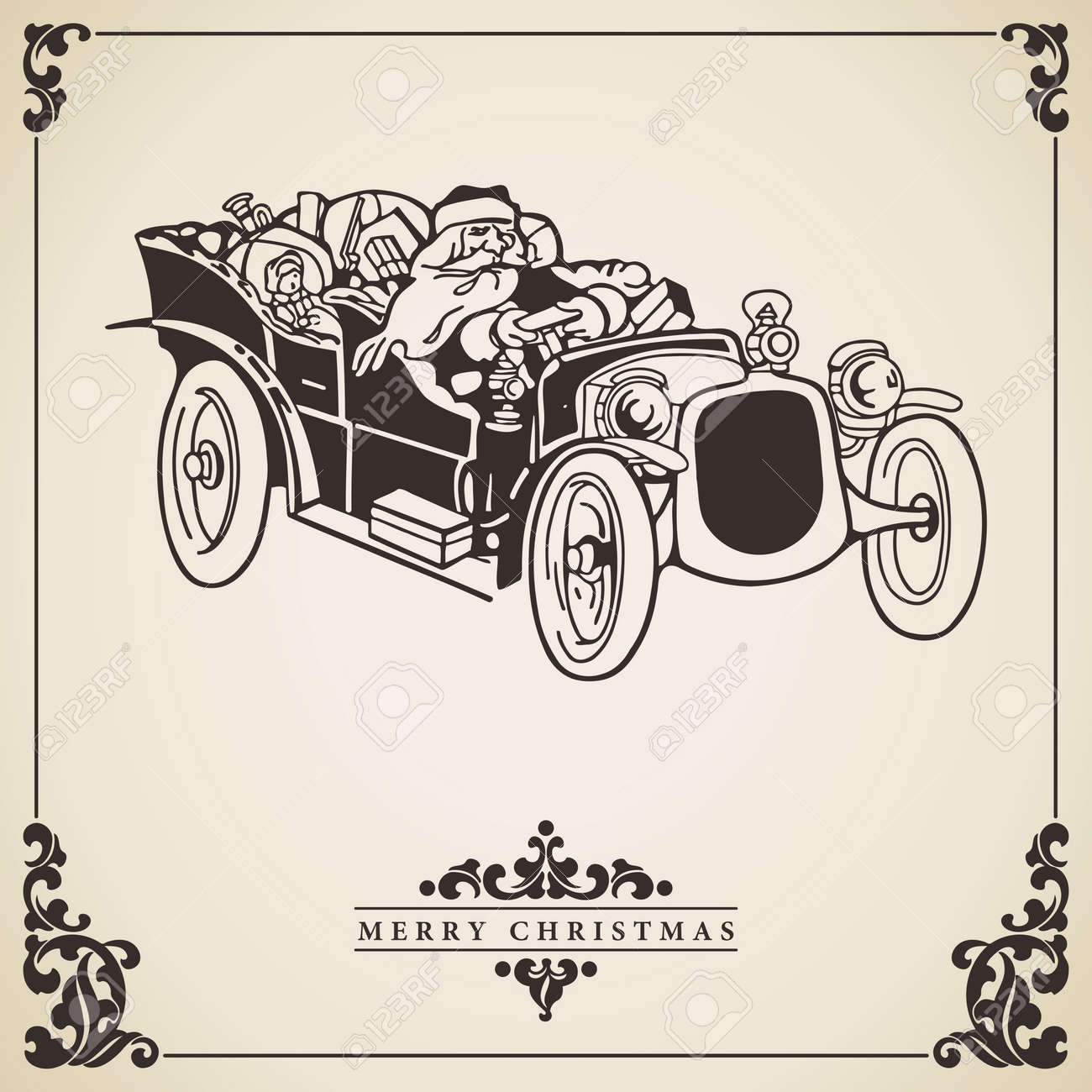 Vector Of Vintage Christmas Card With Santa Claus Driving An ...