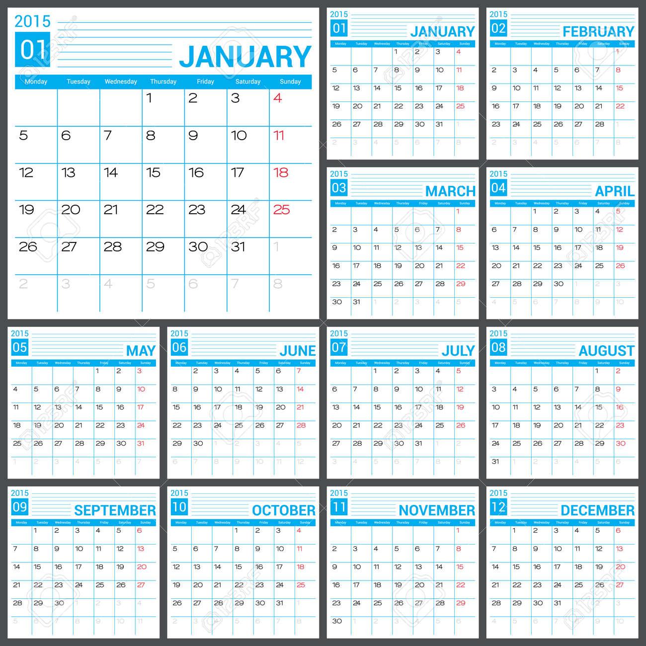Calendario 2015 Plantilla De Diseño Vectorial. Ejemplo Simple ...