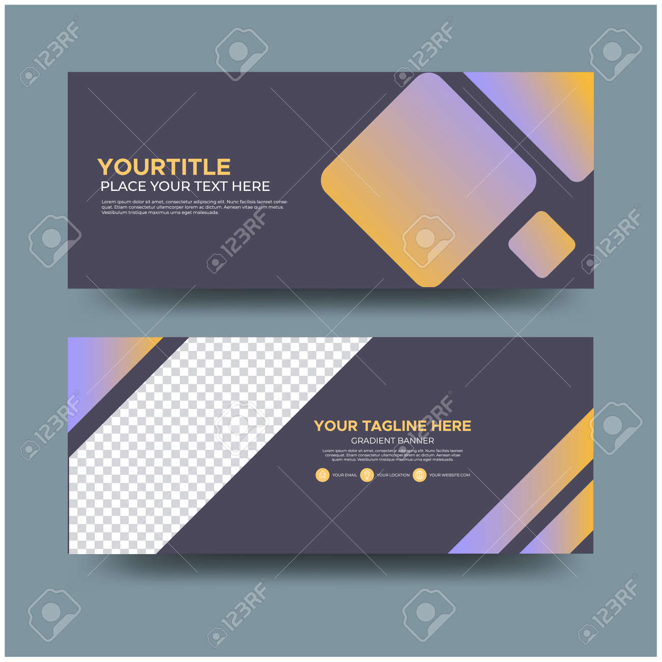 Minimalist gradient banner template, Easy editable can be used for many purpose. - 143265005