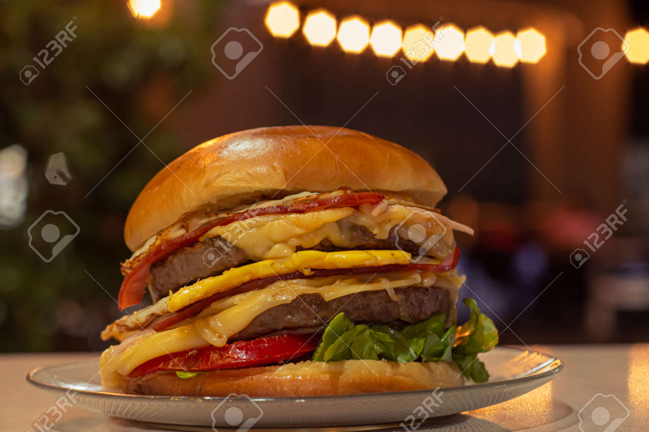Delicious fresh home made Burguers with vegetables, Food advertising photography - 167384283