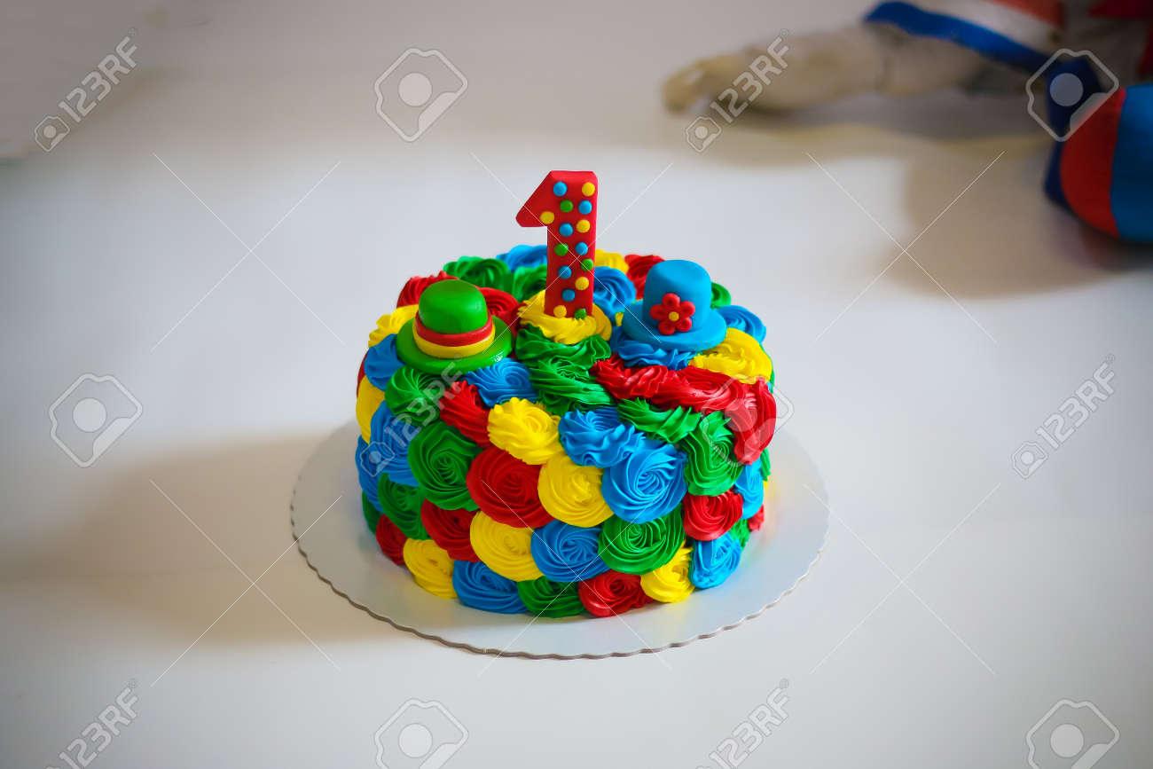 Birthday Cake To Celebrate 1 Year Old Stock Photo