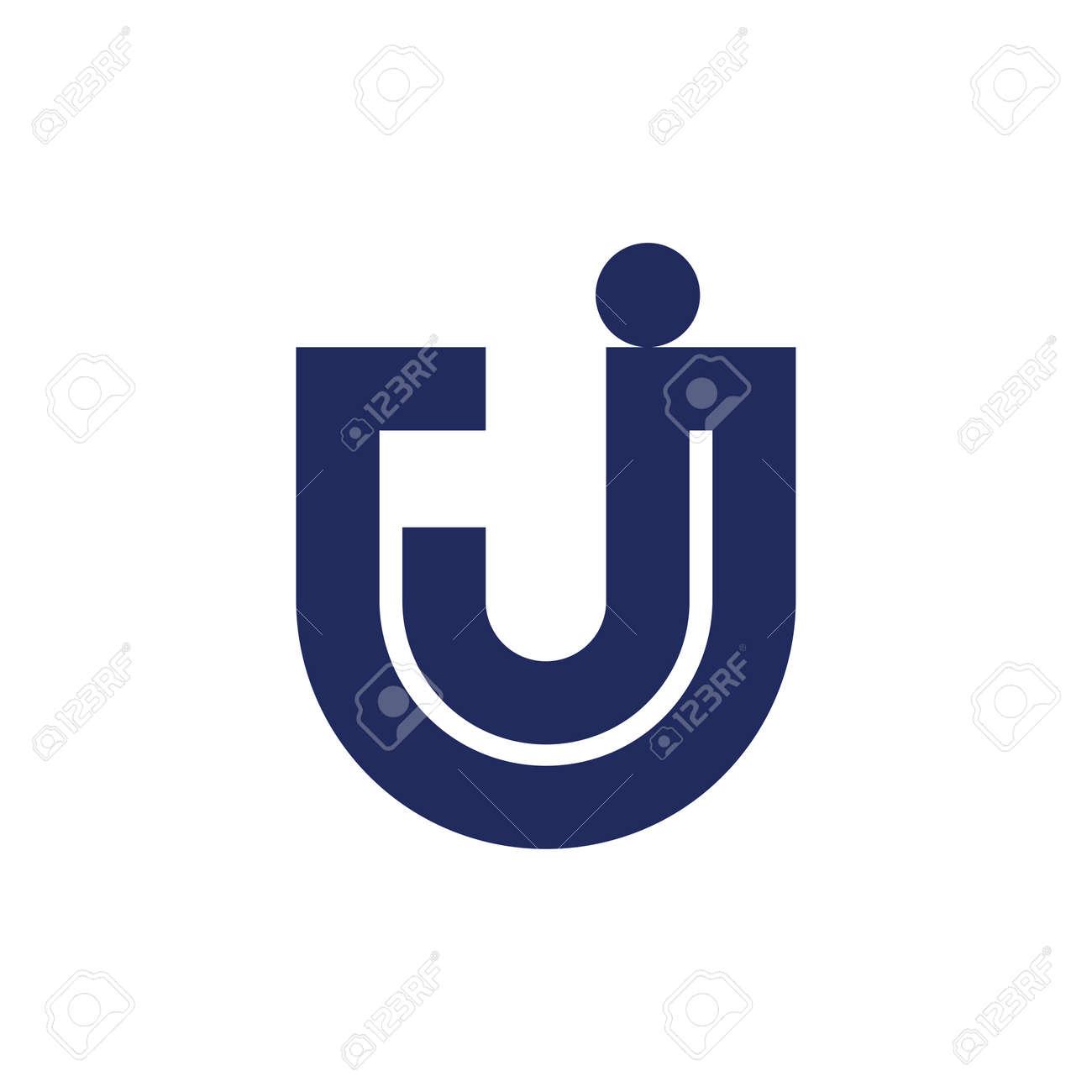 letter uj simple geometric line logo vector - 123147848