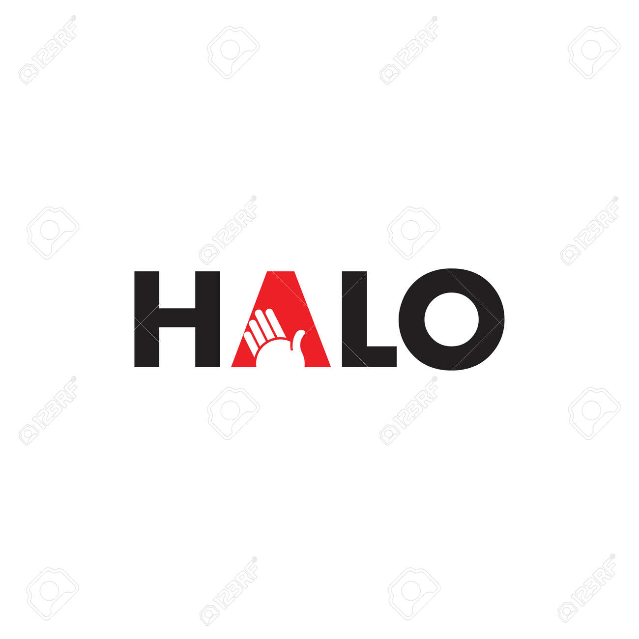 text halo hand symbol logo vector - 127843291