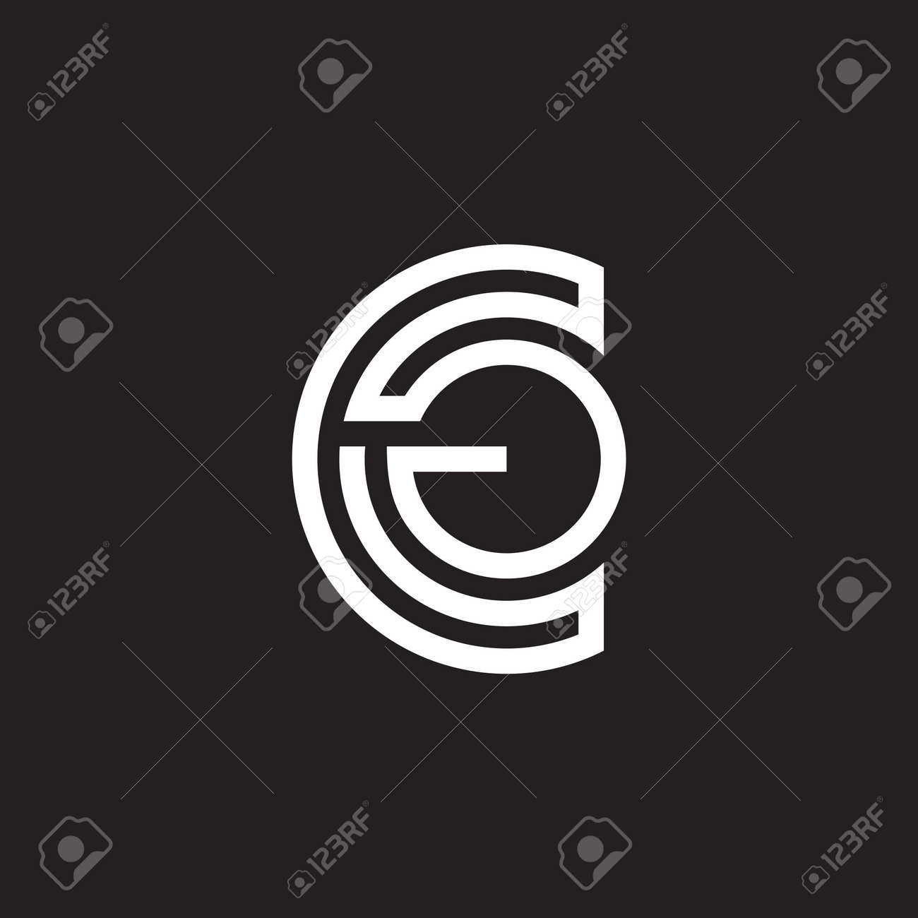 abstract letter cg stripes linear design symbol vector - 153489547