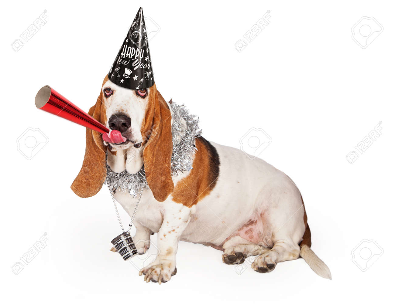 a funny basset hound dog wearing a happy new years hat and party necklace while blowing