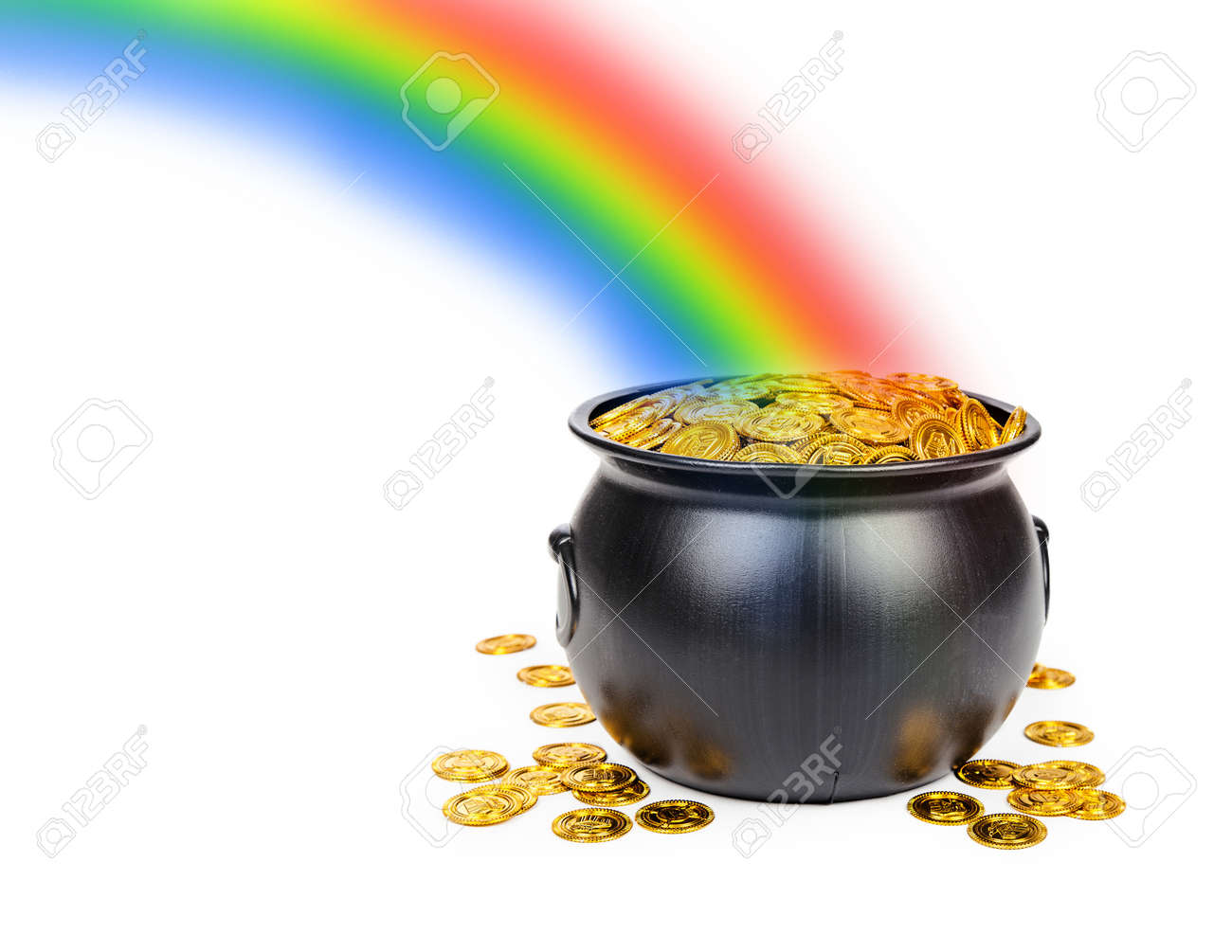 Large black pot filled with gold coins at the end of a colorful rainbow with room for text - 44381705