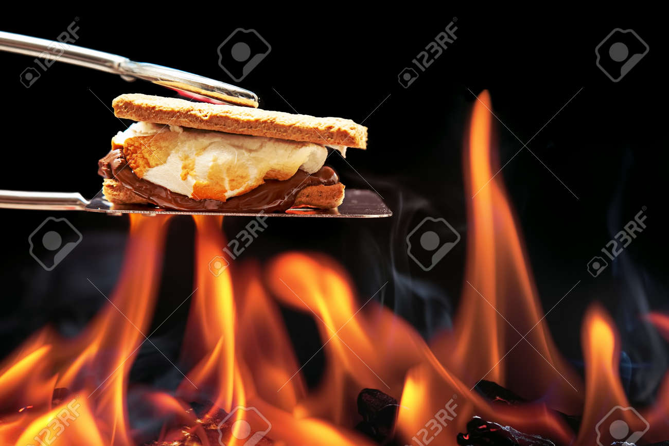 Smore cooking over fire with melting marshmallow and chocolate oozing out of graham crackers. - 59099390