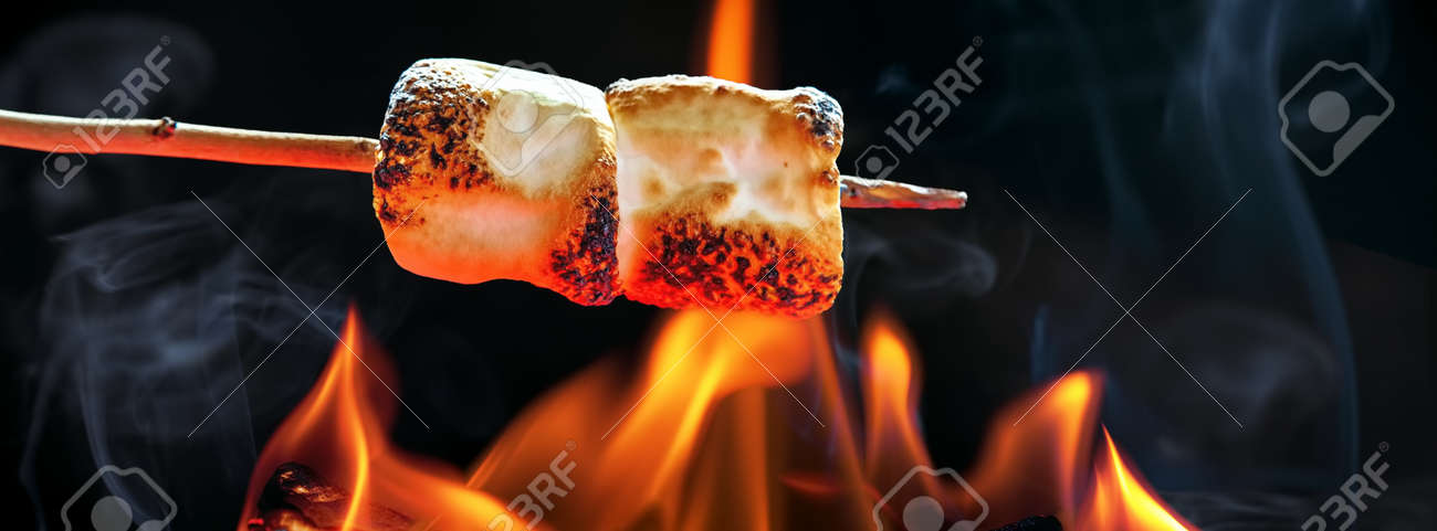 two marshmallows roasting over fire flames sized to fit popular