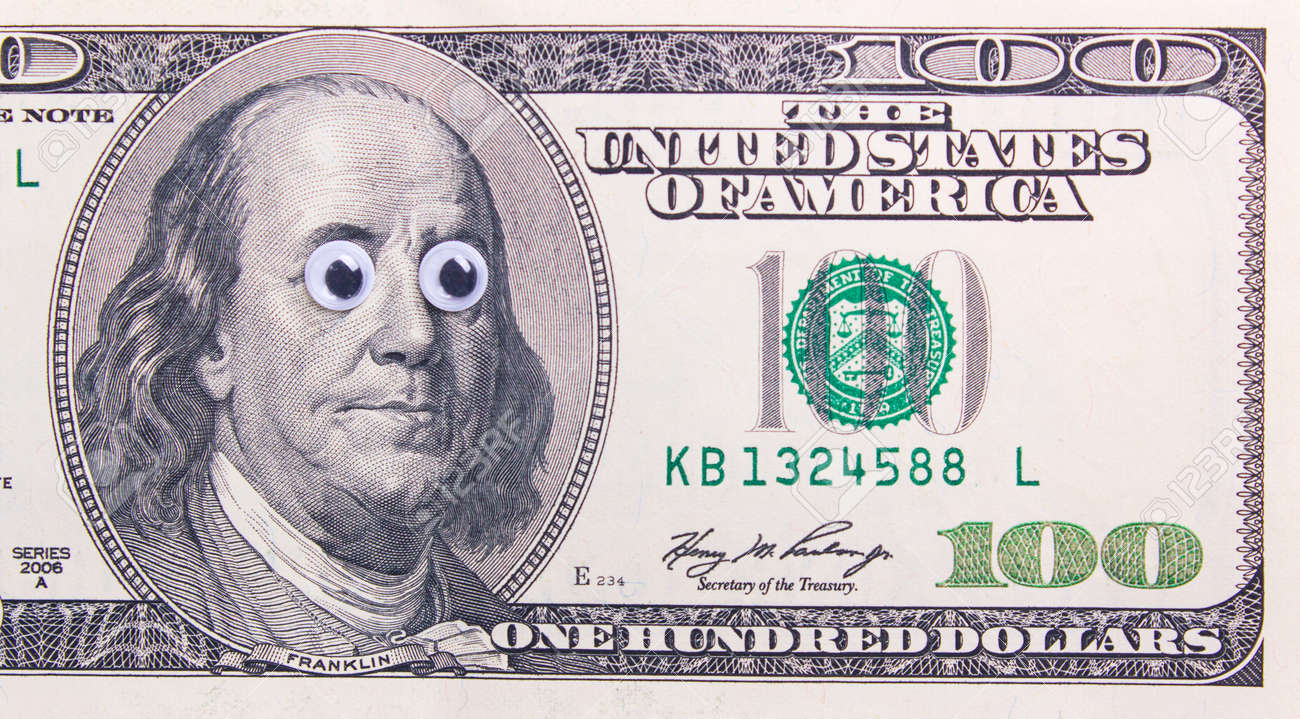 100 dollar bill with big eyes of the president surprised dollar 100 dollar bill with big eyes of the president surprised dollar concept stock photo voltagebd Choice Image