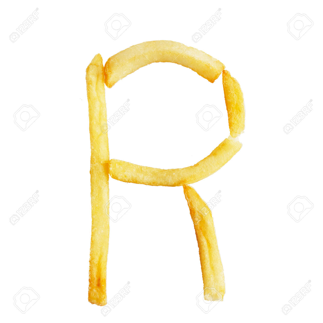 letter r symbol is made of the same fries alphabet of french
